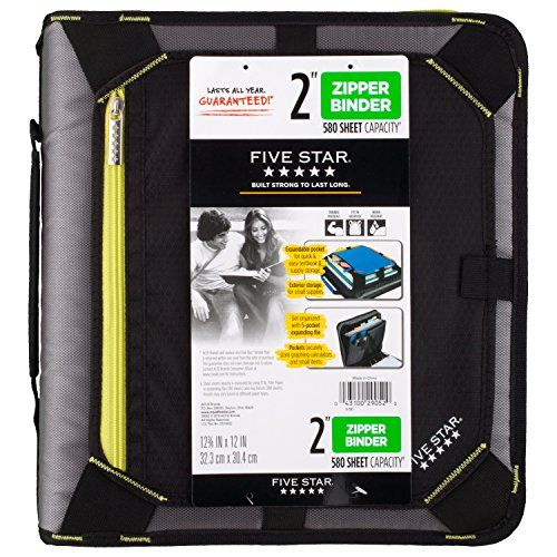 FiveStar 2 Inch Zipper Binder With Expandable Panel, Black